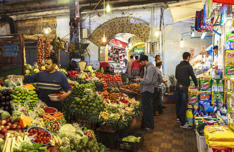 A Vegetable Market in Tangier, Morocco. Tangier is a major city in northern Morocco with a population of approximately 950,000. It is located on the North stock photo