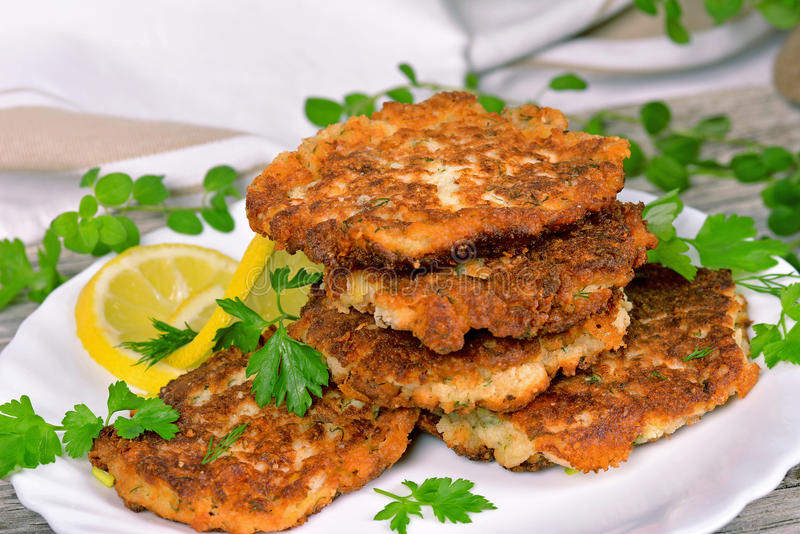 Vegetable and meat patties stock image