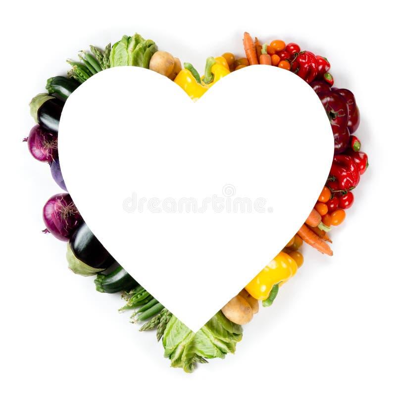 Heart Shape Rainbow Color Vegetable Mix stock photos