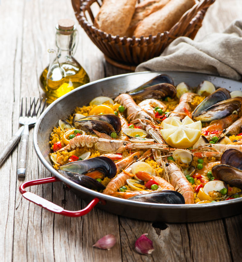 Vegetable paella with seafood royalty free stock photo