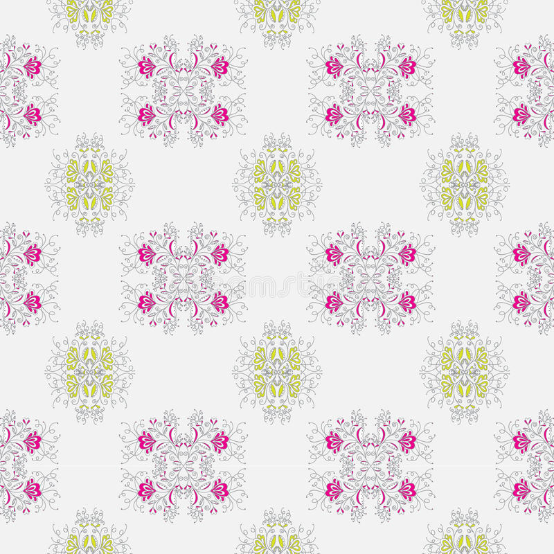 Vegetable pattern with the image of flowers pink and lime flowers on a light-gray background vector illustration