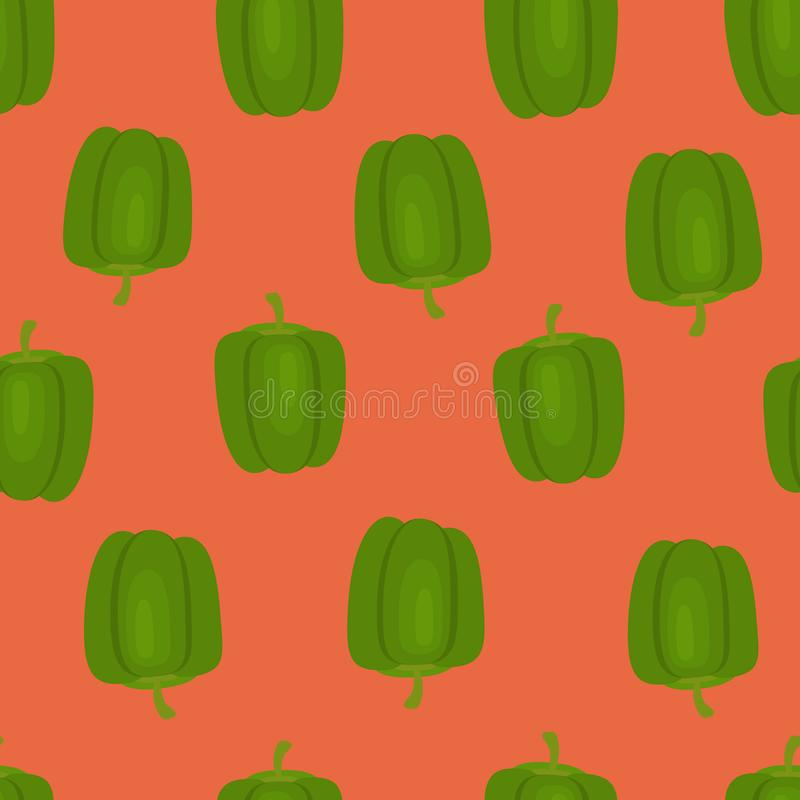 Vegetable print with green pepper on a red background. Seamless pattern with vegetables on a bright background. Green pepper on a red background. Vegetable print vector illustration