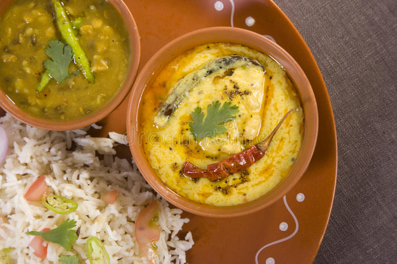 Vegetable Pulao, Daal, with Kadi royalty free stock image