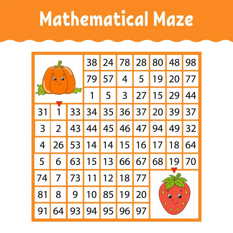 Free Vegetable Pumpkin, Strawberry. Mathematical Square Maze. Game For Kids. Number Labyrinth. Education Worksheet. Activity Page. Stock Photo - 168214750
