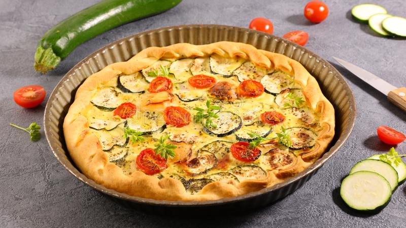 Vegetable quiche with zucchini stock photos