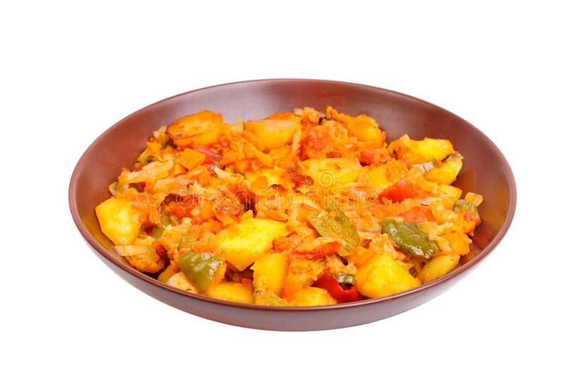 Vegetable ragout on bowl royalty free stock photo