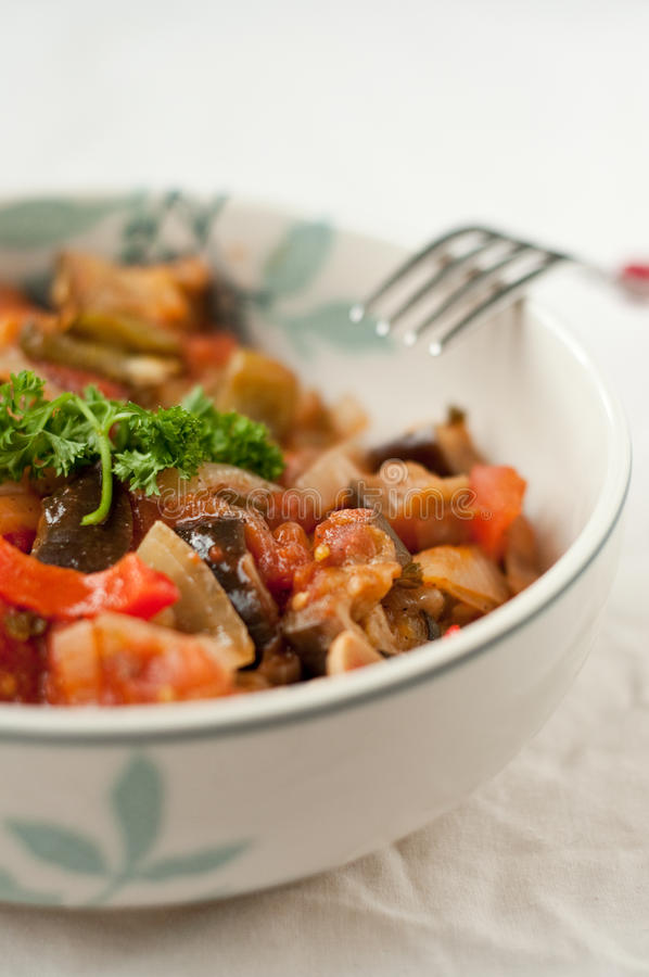 Vegetable ratatouille. In the bowl stock images