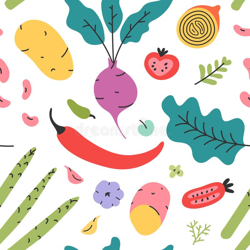 Vegetable reapet seamless vector pattern of hand drawn fresh tasty vegetarian raw food. Wallpaper with cooking fresh tasty organic. Vegetables for wrapping stock illustration