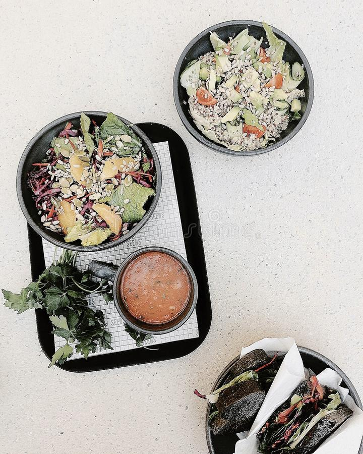 Vegetable Salad On Black Tray stock photography