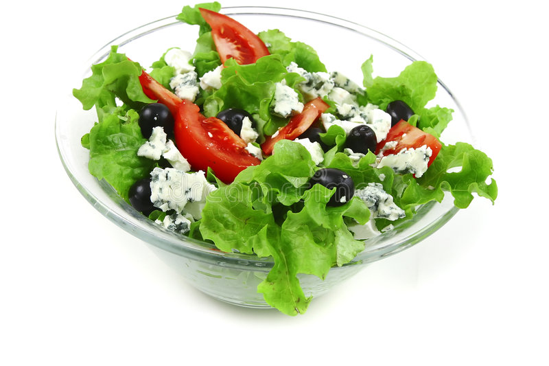 Vegetable salad with blue cheese royalty free stock photo