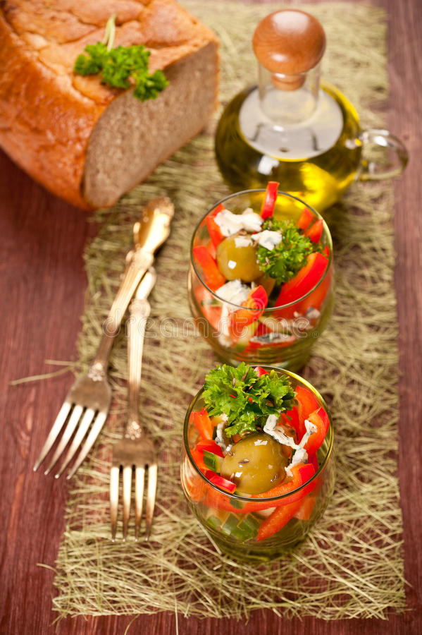 Vegetable Salad With Cheese Stock Image