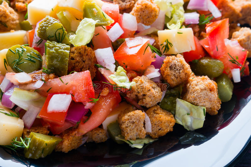 Vegetable salad, crackers and cheese royalty free stock photo