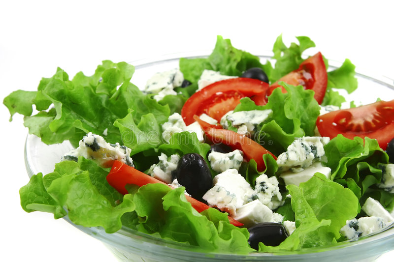 Vegetable salad and danish blue cheese royalty free stock photo