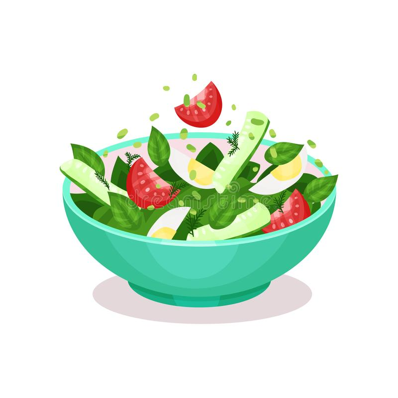 Vegetable salad with egg, tomato, cucmber and spinach healthy eating concept vector Illustration. On a white background stock illustration
