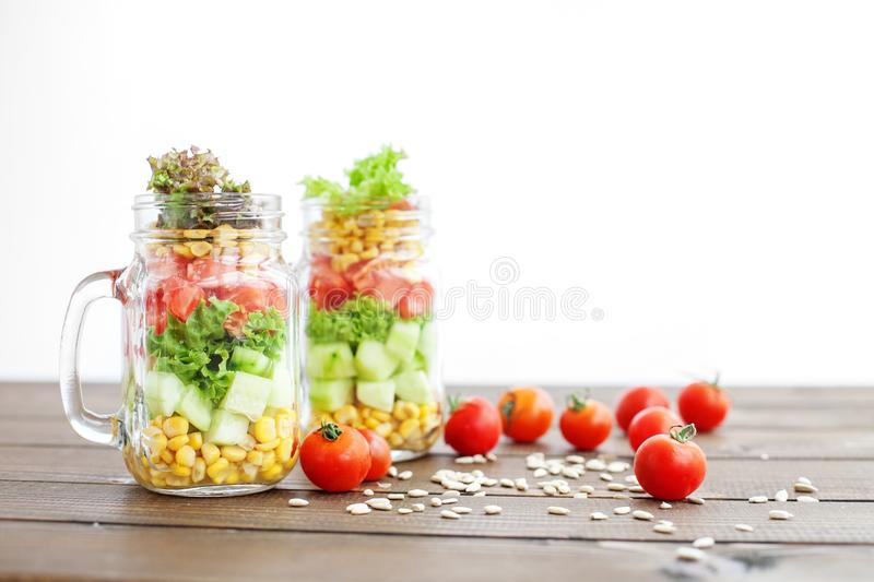 Vegetable salad in a glass jar. Healthy food, Diet, Detox, Clea royalty free stock images