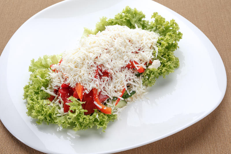 Vegetable salad with sheep cheese royalty free stock image