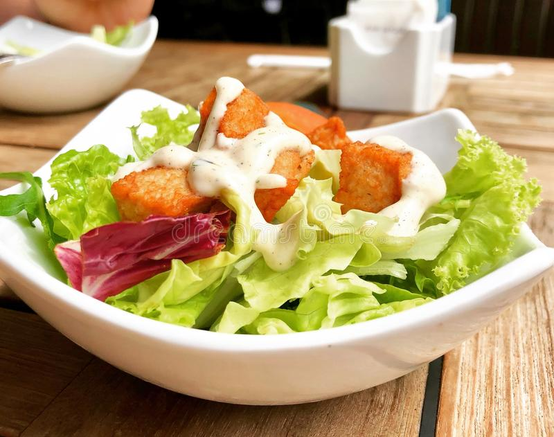 Vegetable Salad on Top of White Ceramic Plate stock photos