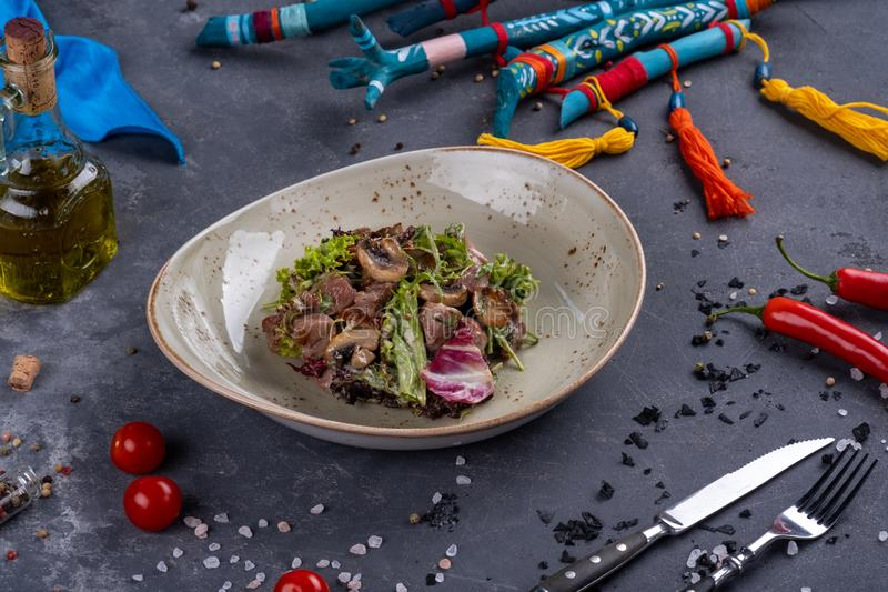 Vegetable salad with veal and mushrooms. In the plate on stone background stock images
