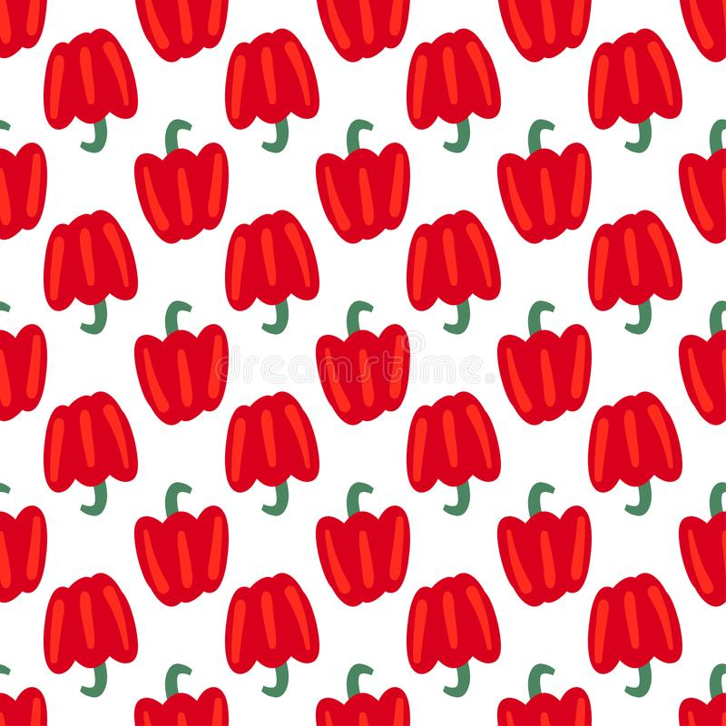 Vegetable seamless pattern with bulgarian pepper on a white background. Healthy food backdrop for your design. Vector illustration.  vector illustration
