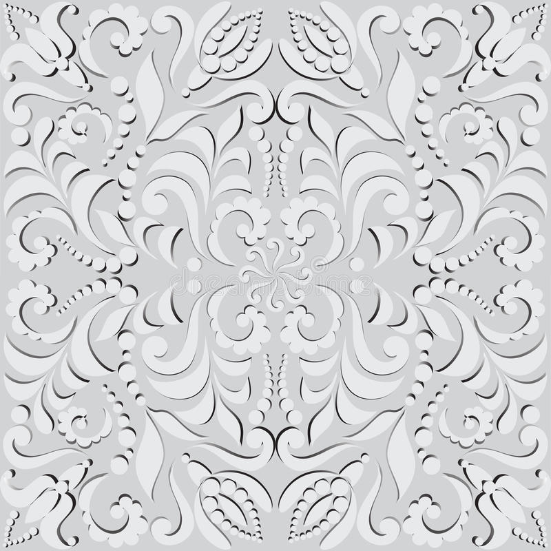 Vegetable seamless pattern in 3D. Pattern for design cards, wall tapestries, holidays and ceremonies. The white elements of the pattern with shadow on gray stock illustration