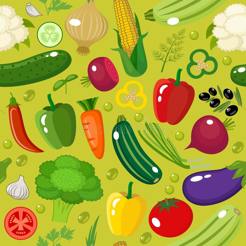 Vegetable seamless pattern. stock images