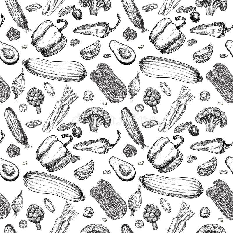 Vegetable seamless pattern. Vegetarian set of farm market products. Vegetable seamless pattern. Hand drawn vintage vector background. Vegetarian set of farm stock illustration