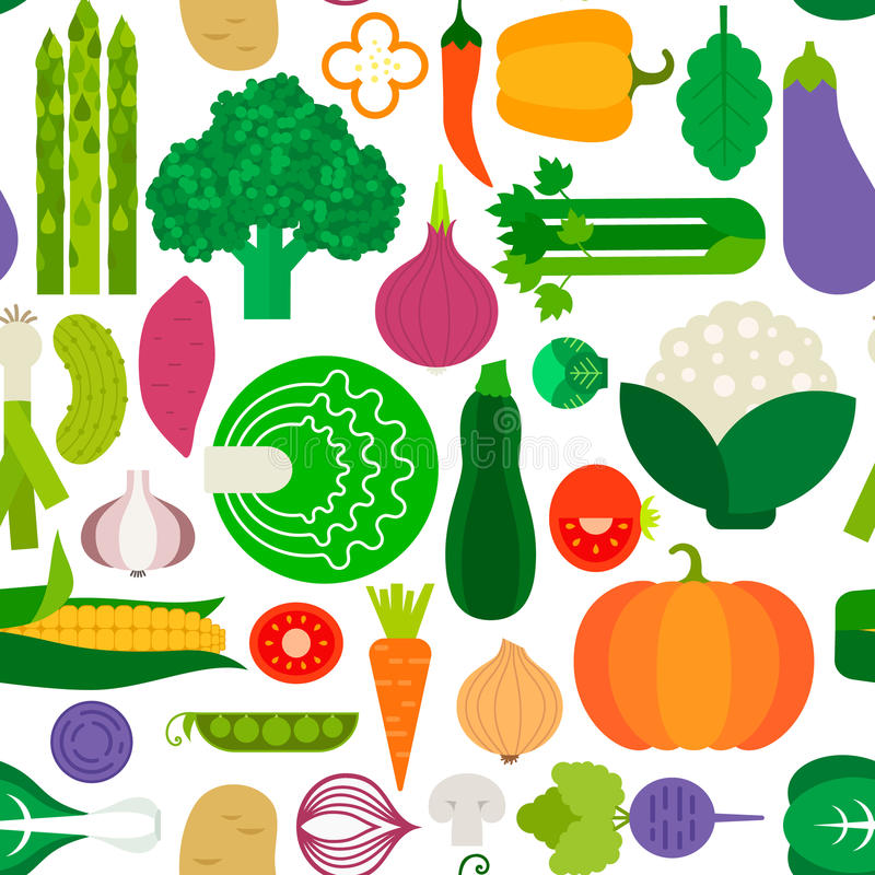 Vegetable Seamless. Vector seamless pattern with different vegetables. Perfect healthy lifestyle background. Backdrop texture for organic farm, eco food royalty free illustration