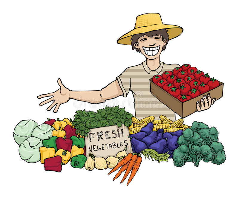 Vegetable seller stock illustration. Illustration of ... (800 x 664 Pixel)