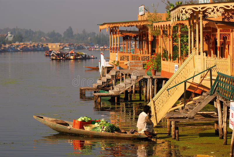 Vegetable seller, Srinagar, Kashmir, India stock photography