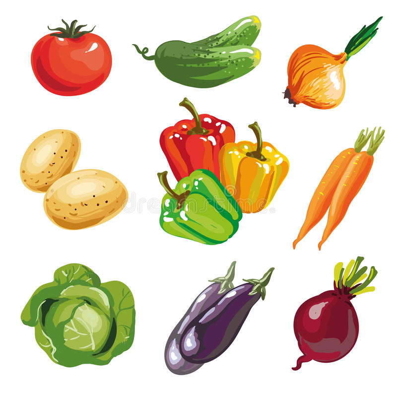 Free Vegetable Set Cartoon Hand Drawn Collection. Stock Photos - 75385253