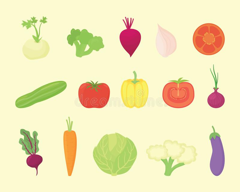 Vegetable set collection with various kind and various colors with modern flat style - vector stock illustration