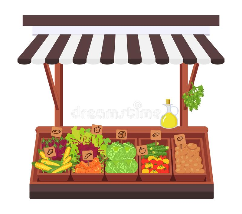 Vegetable shop. Concept of the. Vegetable market. Farm grocery. Stand for selling vegetables. Parsley, beetroot, corn, cucumber, potato, tomato in wooden boxes vector illustration