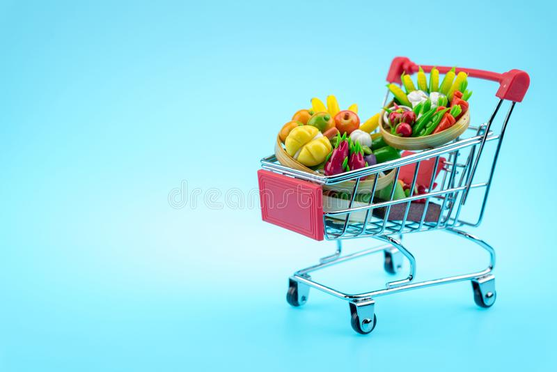 Vegetable in the shopping cart stock photography