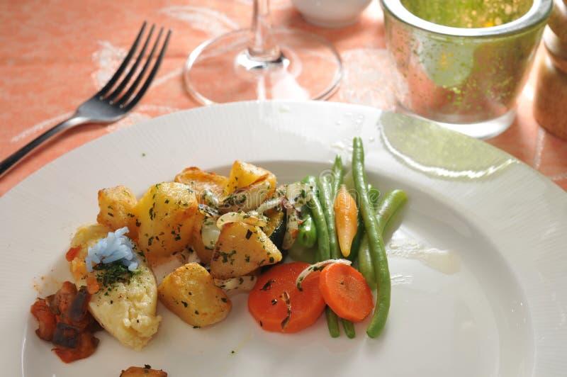 Vegetable side dish. Veggie side dish potato carrot beans stock photos