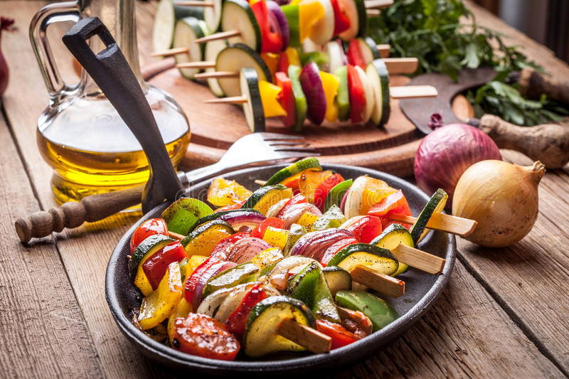 Download Vegetable skewers. stock photo. Image of barbecue, colorful - 60942836