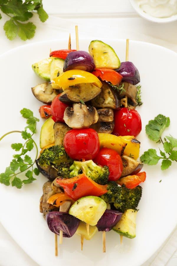 Vegetable Skewers (ratatouille). On skewers stock photo