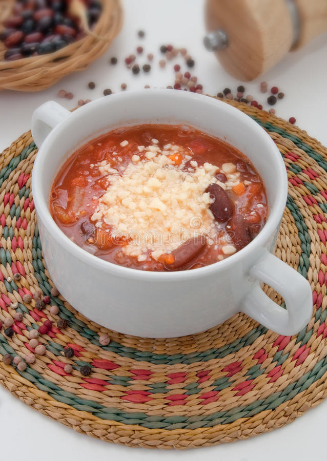 Vegetable soup. With beans and parmesan stock photo