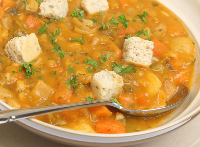 Vegetable Soup. Chunky vegetable soup with croutons royalty free stock photos