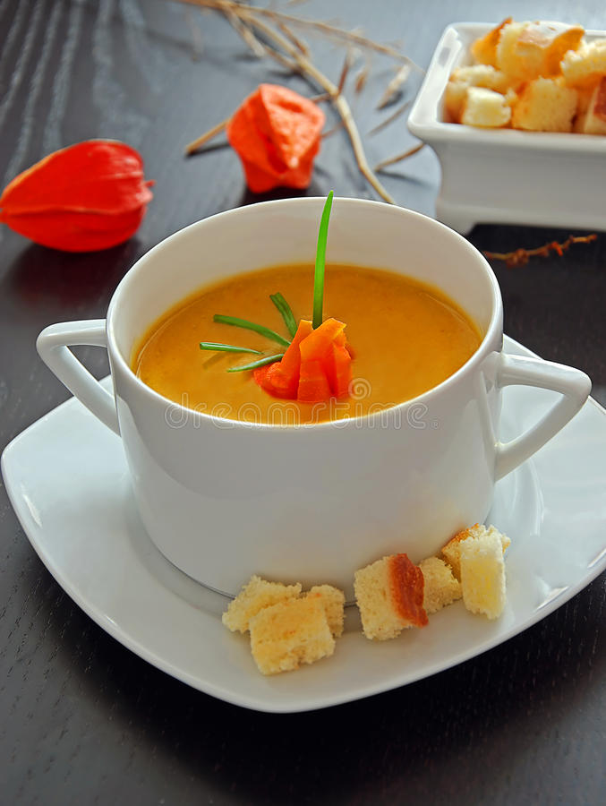 Vegetable soup. A bowl of vegetable cream soup stock photography