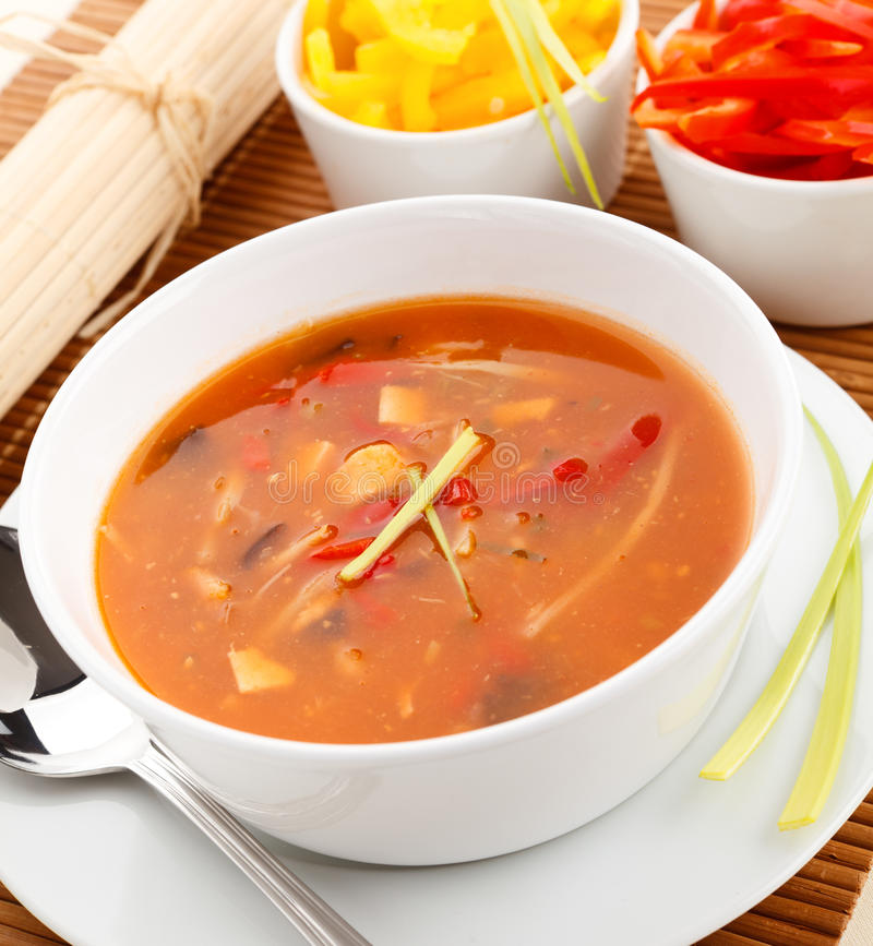 Vegetable soup. Asian food - vegetable spicy soup stock photos