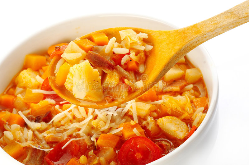 Vegetable soup. Made of five different sort of vegetables stock images