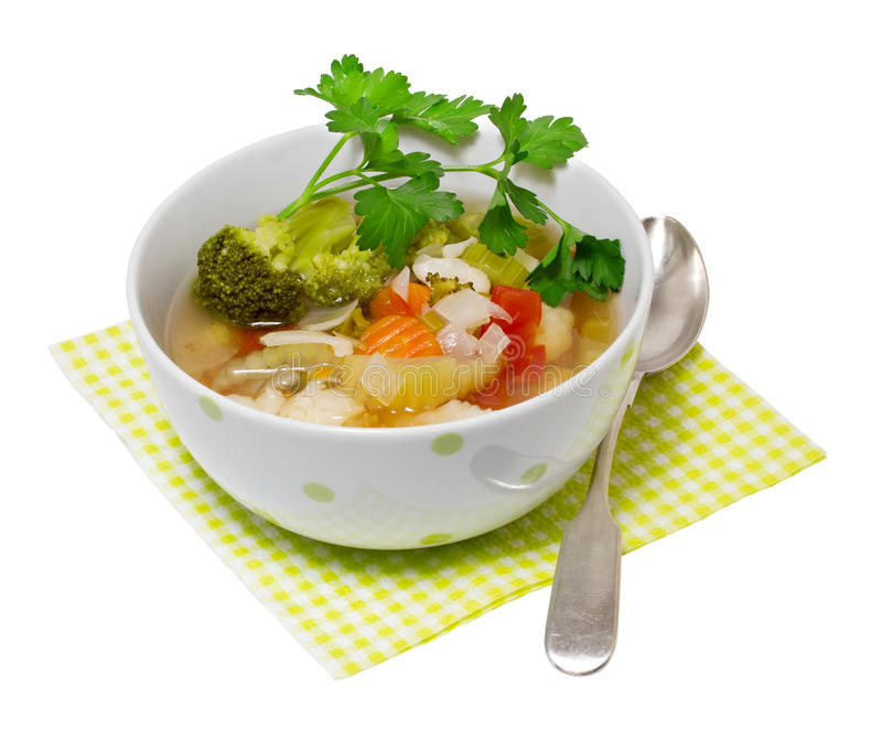 Vegetable soup. Isolated on a white background royalty free stock images