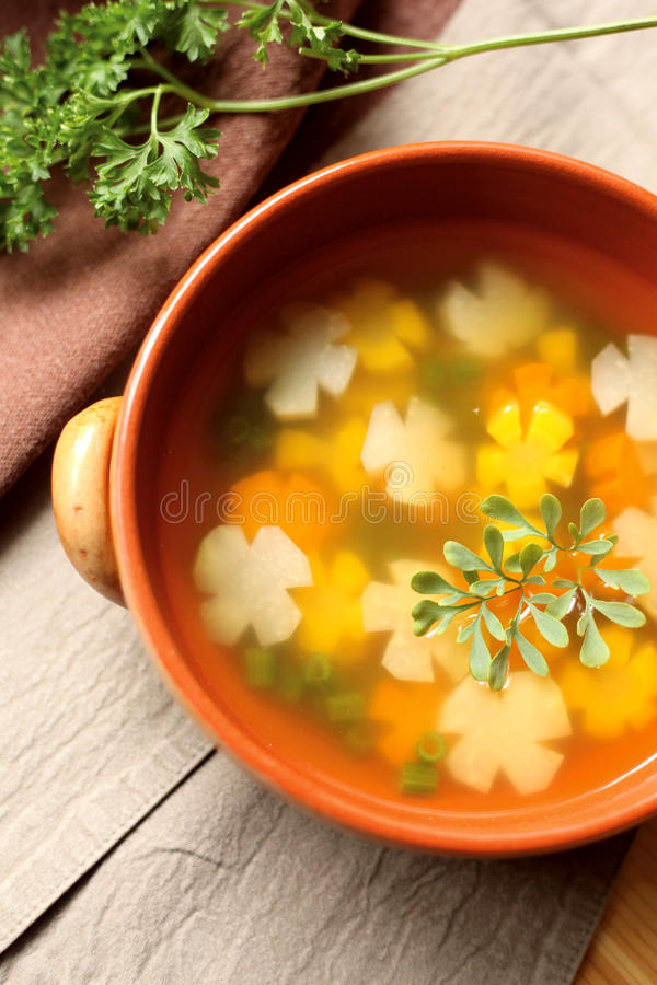Vegetable soup. With tomatoes on the side royalty free stock photos
