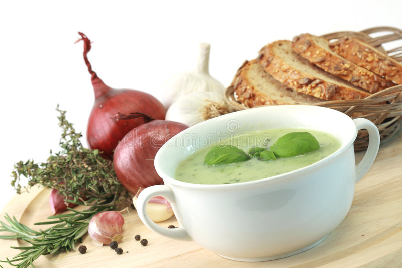 Vegetable soup. With spices on a background stock image