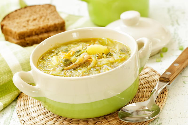 Vegetable soup. In a bowl royalty free stock image