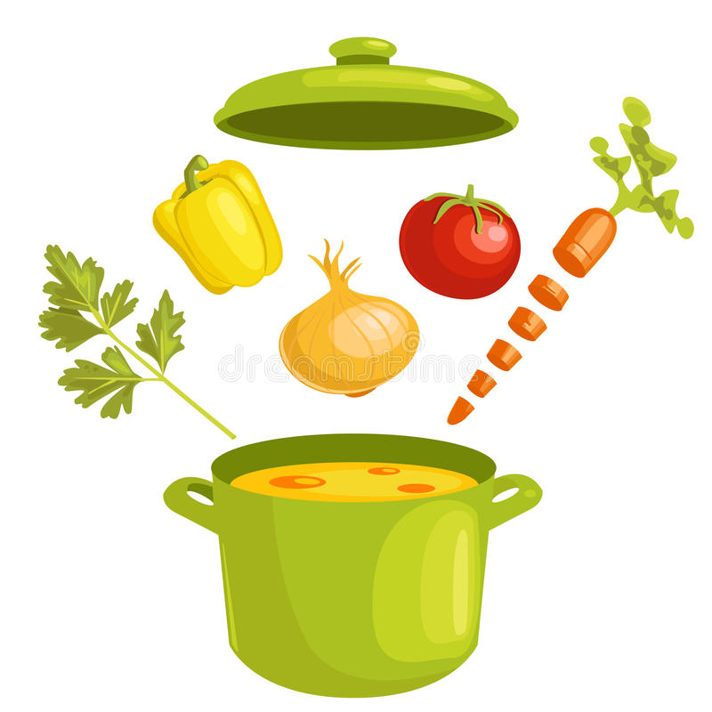 Vegetable soup with ingredients. Illustration