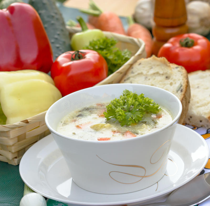 Vegetable soup - minestrone stock images