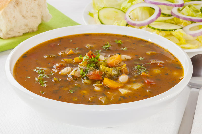 Vegetable Soup and Salad stock photos