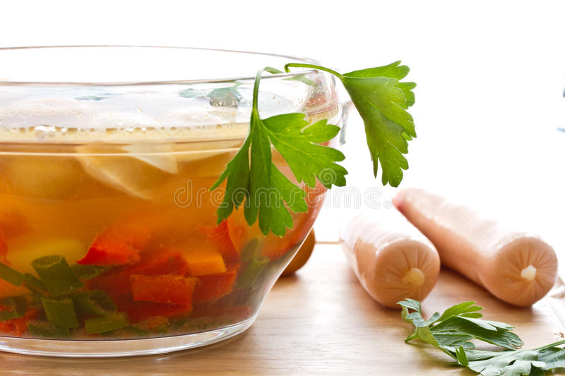 Vegetable Soup With Sausages Royalty Free Stock Images