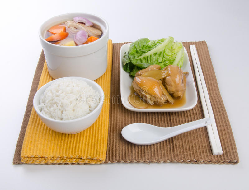 Download Vegetable Soup, Stew Chicken Ang White Rice Set Stock Photo - Image: 25685240